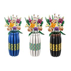 Vase Blue, Black and White Compatible with LEGO Flower Bouquet #10280, #40461, and 40460
